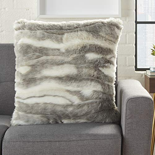 Mina Victory Fur Faux Angora Rabbit Grey Throw Pillow 20