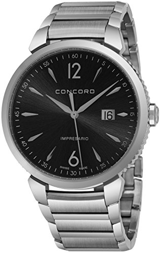 Concord Impresario Mens Stainless Steel Classic Watch - 41mm Analog Black Face with Second Hand, Date and Sapphire Crystal Quartz Watch - Metal Band Swiss Made Nice Luxury Watch for Men 0320325