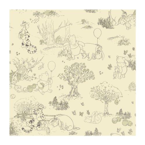 York Wallcoverings Disney Kids III Pooh & Friends Toile Removable Wallpaper, Beige