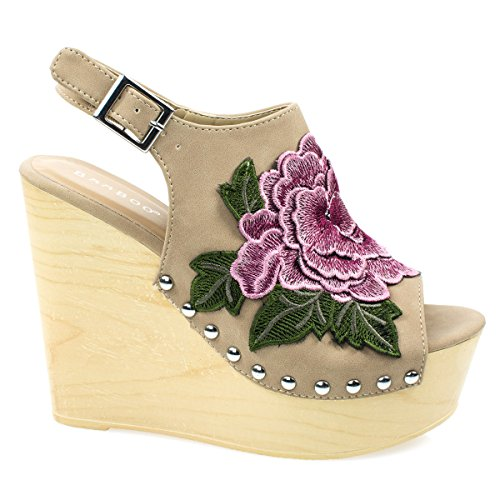 Beige Floral Detail Wedge (Woobery17 Natural Large Floral Patch On Wooden Platform Wedge Sandal, Metal Bolted Detail. -6)