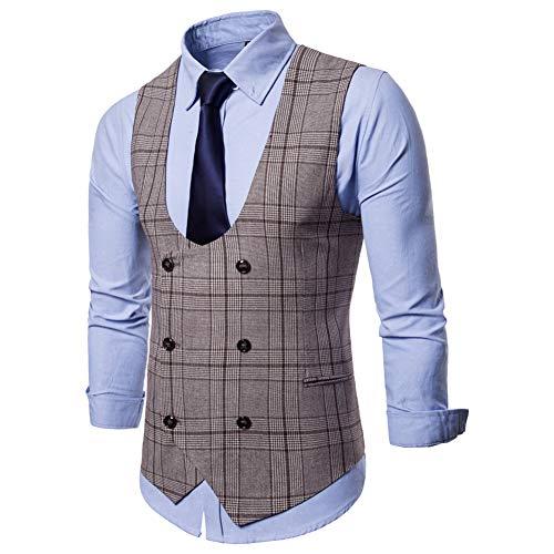 Boutonnage Cravate Costume Double Carreaux Café Homme Gilet Sans En De Chemise Slim Fit YPwaaACxTq