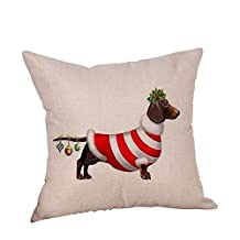 Auwer Merry Christmas Dog Cotton Linen Pillow Case Cushion Pillow Cover Sofa Waist Throw Bed Chair Pillowcase Festival Home Decoration 18'' (Q)