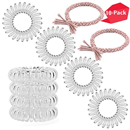 Spiral Hair Ties,Rubber Hair Bands,Coil Hair Ties, Phone Cord Hair Ties, Hair Coils -Transparent-10pcs ()