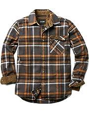 CQR Men's Flannel Long Sleeved Button-Up Plaid 100% Cotton Brushed Shirt HOF Series