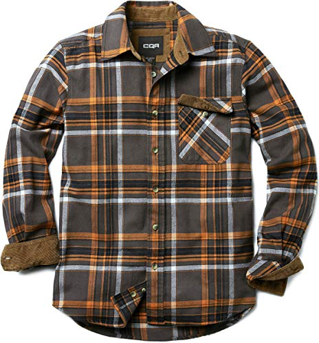CQR Men's Flannel Long Sleeved Button-Up Plaid All Cotton Brushed Shirt, Plaid(hof110) - Grey Dakota, X-Large (Flannel Shirts For Men Dress)