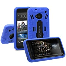 Fosmon HYBO Series Dual Layer Hybrid Silicone + PC Protective Skin Case Cover with Stand for HTC One 2013 / HTC M7 (Blue / Black)