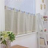 Ustide Geometric Pattern Kitchen Curtains Valances Cotton Linen Cafe Curtains Half Kitchen Curtains for Small Windows 55' W X 24' L