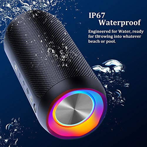 Wireless Speaker Bluetooth, COOCHEER 24W Bluetooth Portable Speaker with Party Light, IP67 Waterproof Portable Wireless… 4