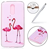 Case for LG K8 2017(Europe Version),LG K8 2017 Transparent Gel Case Cover,Felfy Ultra Slim TPU Soft Silicone Cover with Colorful Panting Cute Bear Butterfly Campanula Design Super Lightweight Gel Bumper and Drop Protection Phone Shell Protective Cover for LG K8 2017 + 1 Silver Stylus Pen + 1 Dust Plug.Flamingo