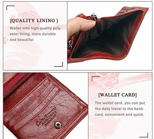 WTUS Hombre Cartera De Piel Auténtico Monederos Para Tarjeta de Crédito Dinero y Carnet ID para Hombre Rojo