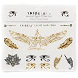 Ancient Egypt Collection -- Designer Metallic Flash Temporary Tattoos by TribeTats -- Black & Gold Egyptian, Henna Inspired Body Art -- Includes: Armbands, Feathers, Goddess Isis -- Boho Music
