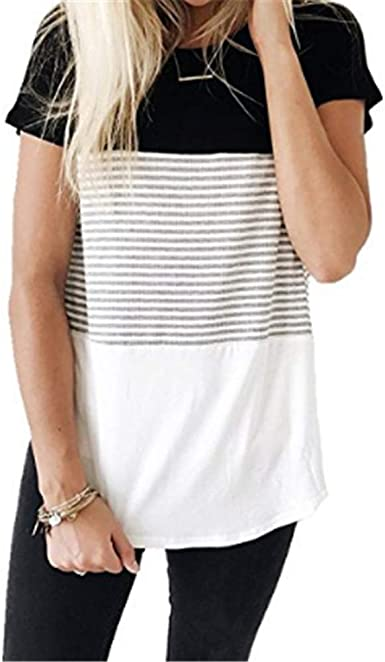 Summer New Striped Stitching Round Neck Camiseta De Manga Corta Tops para Mujer: Amazon.es: Ropa y accesorios