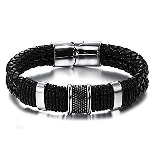 fecb5e39c542 Envio gratis Pulsera de cuero negro con detalles y cierre de acero  inoxidable para hombres