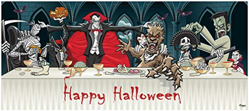 Victory Corps Outdoor Halloween Holiday Garage Door Banner Cover Mural Décoration 7'x16' - Dracula's Halloween Dinner - Outdoor Halloween Holiday Garage Door Banner Décor Sign -