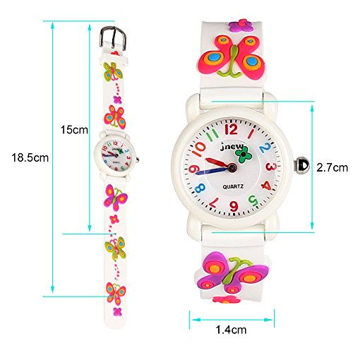 ELEOPTION Kid Analog Watch for Boys Girls 2-10 Years Old 3D Cartoon Quartz Watch Waterproof Silicone Wristwatches Toddler Watch Time Teacher, 2018 Christmas Gift Toys for Kids (A- Butterfly White)