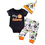 Baby Boys Girls Christmas Halloween Romper My 1st Bodysuit and Pants Winter Outfit (0-6M)