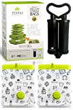 Vacuum Storage Space Saver Bags - Premium Reusable 100 Microns Pack of 6 Jumbo + Free Double Barrel Portable Hand Pump - Shrinks Upto 80% - For Home & Travel