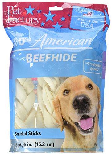"51xwv9BqeeL - Pet Factory 78106 Beefhide 6"" Braided Sicks. 6 Pack. Made in USA"