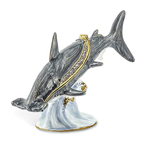 Jere Luxury Giftware Bejeweled Clobber Hammerhead Shark, Pewter with Enamel Collectible Trinket Box with Matching Pendant Necklace