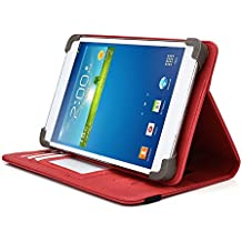 HKC 7 Inch Tablet Case, UniGrip PRO Series - RED - By Cush Cases (Case Features Top Quality PU Leather with Bulit In Stand, Hand Strap, 3 Card Slots and SIM Card Holder)
