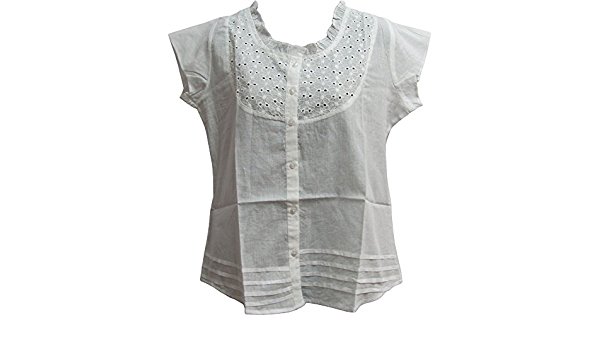 White short sleeve  boho blouse   semi sheer gauze cotton tunic blouse butterfly lace decoration top made in india  ML