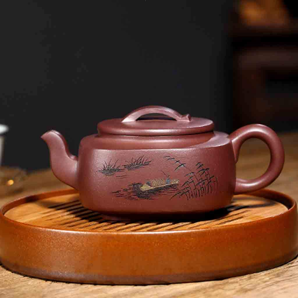 Teapot handmade large capacity teapot square tea set mixed pot kung fu teapot set non-ceramic full hand-painted teapot (Color : BROWN, Size : 16.4X7CM) by GQQ (Image #2)