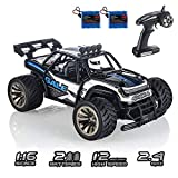 RC Cars KOOWHEEL 1:16 Scale 2WD Off Road Remote Control Cars with 2 Rechargeable Battery 2.4GHz Radio Remote Control Truck Monster High Speed Crawler USB Charger RC Car for Adults and Kids(Blue)