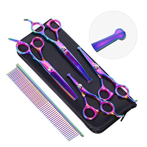 HAVARGO Dog Grooming Scissors, Heavy Duty Stainless Steel, Round Top Pet Grooming Trimmer Kit – Thinning, Straight, Curved Shears – Comb, Dog Cat Shears for Full Body