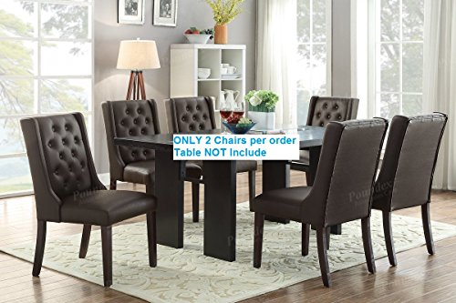 SET OF 2 Fancy Parson Style cushioned dining chairs with diamond tufting by Advanced Furniture