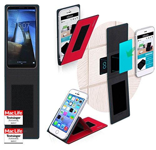 Funda para Huawei Mate 11 en Cuero Negro - Innovadora Funda 4 en 1-Anti-Gravedad para Montaje en Pared, Soporte de Tableta en Vehículos, Soporte de Tableta - Protector Anti-Golpes para Coches y Parede Rojo