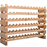 HOMCOM Wood Wine Rack Stand 72 Bottles Holder 6 Tier Stackable Wine Storage Organizer Free Standing