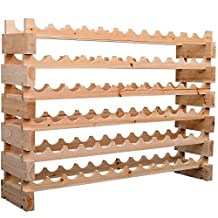 HOMCOM Wood Wine Rack Stand 72 Bottles Holder 6 Tier Stackable Wine Storage Organizer Free Standing