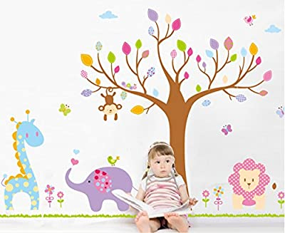 LiveGallery Cartoon Giant Huge Tree Animals Giraffes, Elephants, Lions Nursery Flowers Wall Stickers Murals Painting Supplies DIY Wall Art Decor Decals for Kids Babys Children Bedroom Living Room