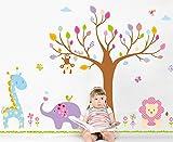 LiveGallery Cartoon Giant Huge Tree Animals Giraffes, Elephants, Lions Nursery Flowers Wall Stickers Murals Painting Supplies DIY Wall Art Decor Decals for Kids Babys Children Bedroom Living Room