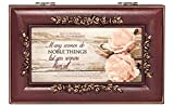 Proverbs 31 Woman Distressed Rose Wood Finish Jewelry Music Box Plays Canon in D