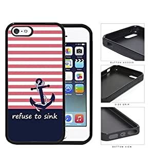 I Refuse To Sink Pink Stripe Blue Anchor Rubber Silicone TPU Cell Phone Case Apple iPhone 5 5s