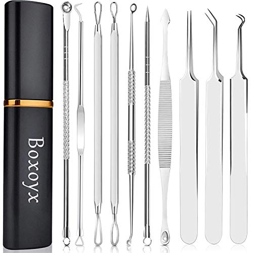 [Latest]Blackhead Remover Tool, Boxoyx 10 Pcs Professional Pimple Comedone Extractor Popper Tool Acne Removal Kit - Treatment for Pimples, Blackheads, Zit Removing, Forehead,Facial and Nose(Silver)
