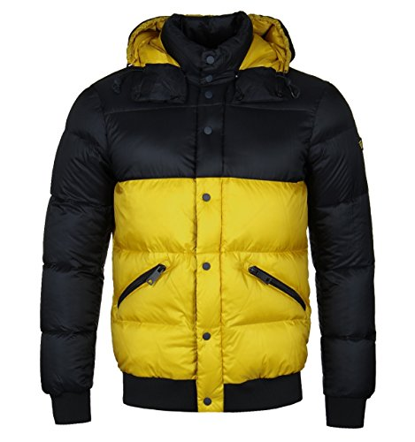 Armani Jeans Yellow Hooded Puffer Jacket-EXTRA LARGE