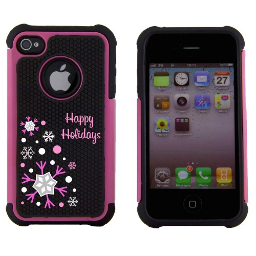 Boho Tronics TM Happy Holiday Christmas Xmas Snowflake Snow Winter Style Body Armor Defender Case Cover Skin - Compatible With Apple iPhone 4 4S - Pink