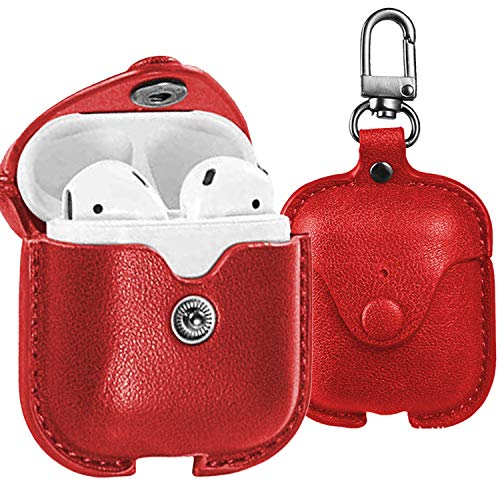 CoreLife AirPods Case Cover, Leather Slim Fit Protective Soft Cover for Apple AirPods 1 & 2 Charging Case with Keychain -