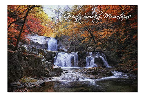 Great Smoky Mountains, Tennessee - Waterfall and Autumn Colors (20x30 Premium 1000 Piece Jigsaw Puzzle, Made in USA!) (Best Waterfalls In Tennessee)