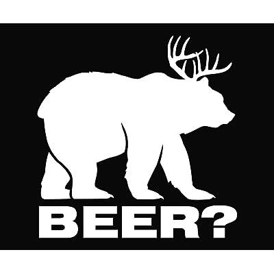 """Bear plus Deer equals BEER Vinyl Die Cut Decal Sticker 5.50"""" White: Automotive"""