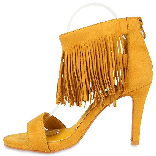 Stiefelparadies Damen High Heels Quasten Leder-Optik Klassische Sandaletten Flandell Hellorange Velours Fransen