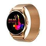 K88H Smart Watch,Lovewe K88H Smart Watch IOS Android Heart Rate Monitor Watch 1.22 Inch IPS Round Screen For Android Samsung IOS iPhone X8 Plus Men Women (Gold)
