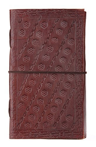 INDIARY Embossed Genuine Buffalo Leather Journal With Handmade Paper 9x5 Inch Simple And Elegant Embossed