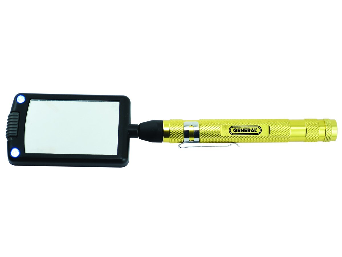 General Tools 92560 LED Lighted Telescoping Rectangular Inspection Mirror, 24 inches