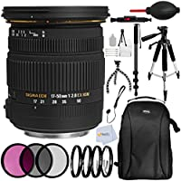 Sigma 17-50mm f/2.8 EX DC OS HSM Zoom Lens for Nikon Cameras with APS-C Sensor - Includes 3PC Filter Kit + 4PC Macro Filter Set + 6.5 Tripod + 72 Monopod + 57 Tripod + Professional Backpack & More!