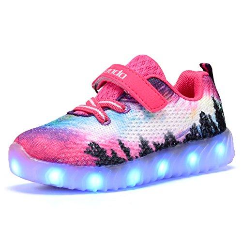 Coodo Cd2006 Toddler Kids Led Shoes Girls Flashing Light Up Sneakers Pink Velcro 2
