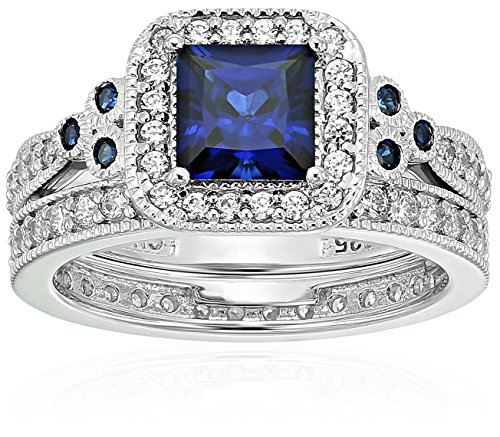 Platinum-Plated Sterling Silver Princess-Cut Created Sapphire Vintage Ring Set made with Swarovski Zirconia, Size 9 ()