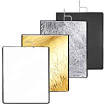 Neewer 30x36 inches 4-in-1 Metal Flag Panel Set Reflector with Soft White, Black, Silver and Gold Cover Cloth for Photo Video Studio Photography